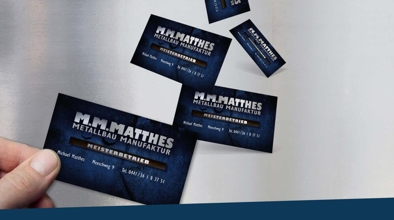 M.M.Matthes Metallmanufaktur Visitenkarten