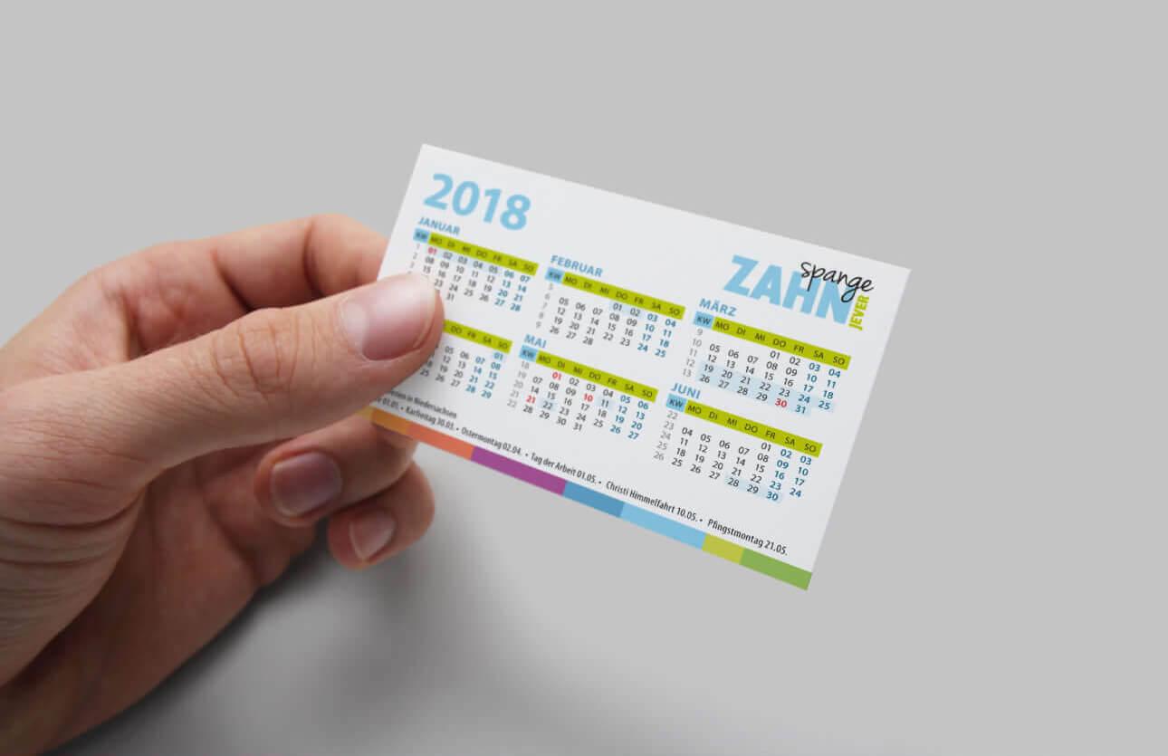 Zahnspange Jever Visitenkarte mit Kalender für Termine