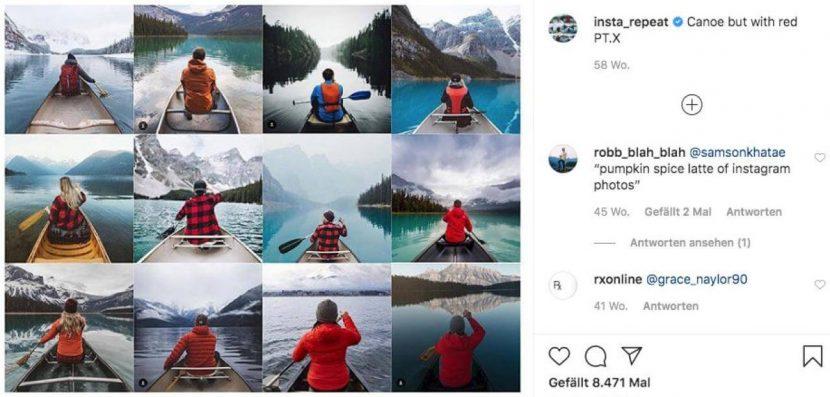 12 Bilderkästchen von Menschen in identischen Posen