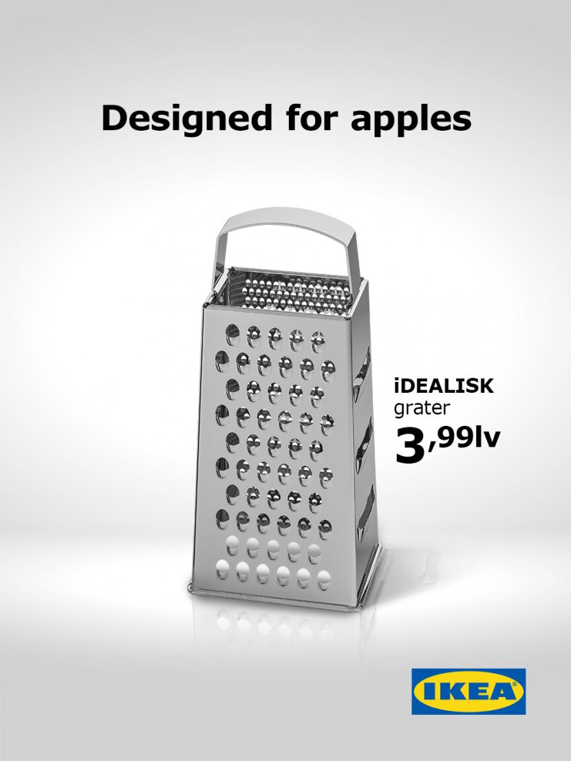 Scherzanzeige einer Obstreibe im Apple-Stil