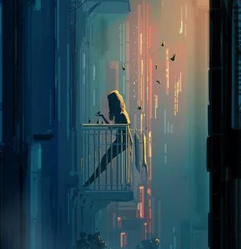 Eine Frau die auf einem Balkon steht