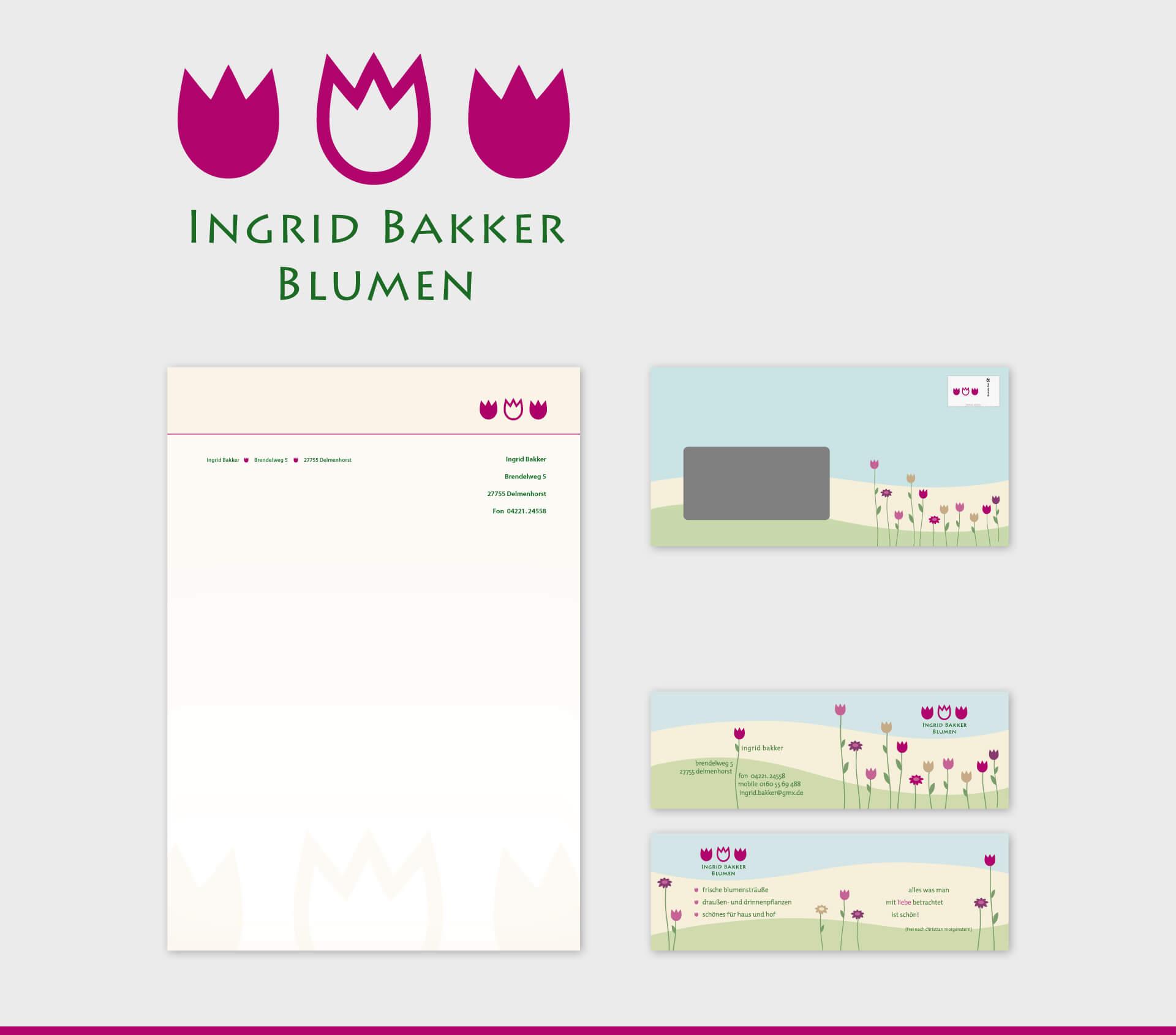 Ingrid Bakker Blumen Briefpapier Briefumschlag Visitenkarte