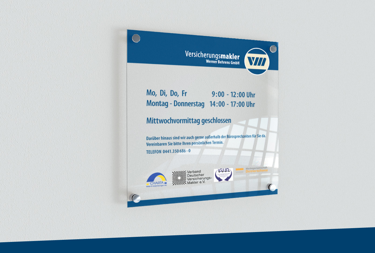 Versicherungsmakler Bliemeister Firmen Informationstafel