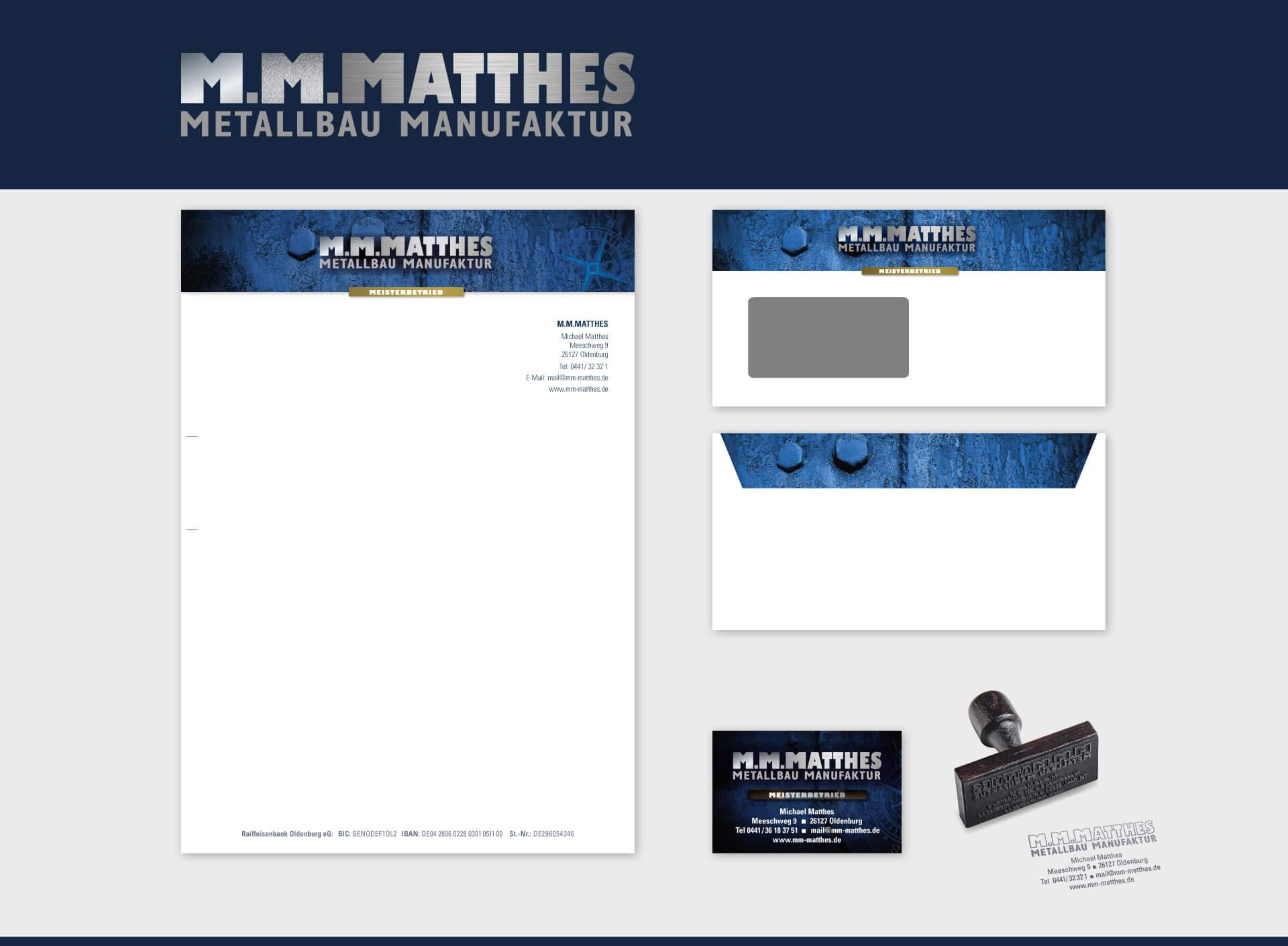 M.M.Matthes Briefpapier Briefumschlag Visitenkarte