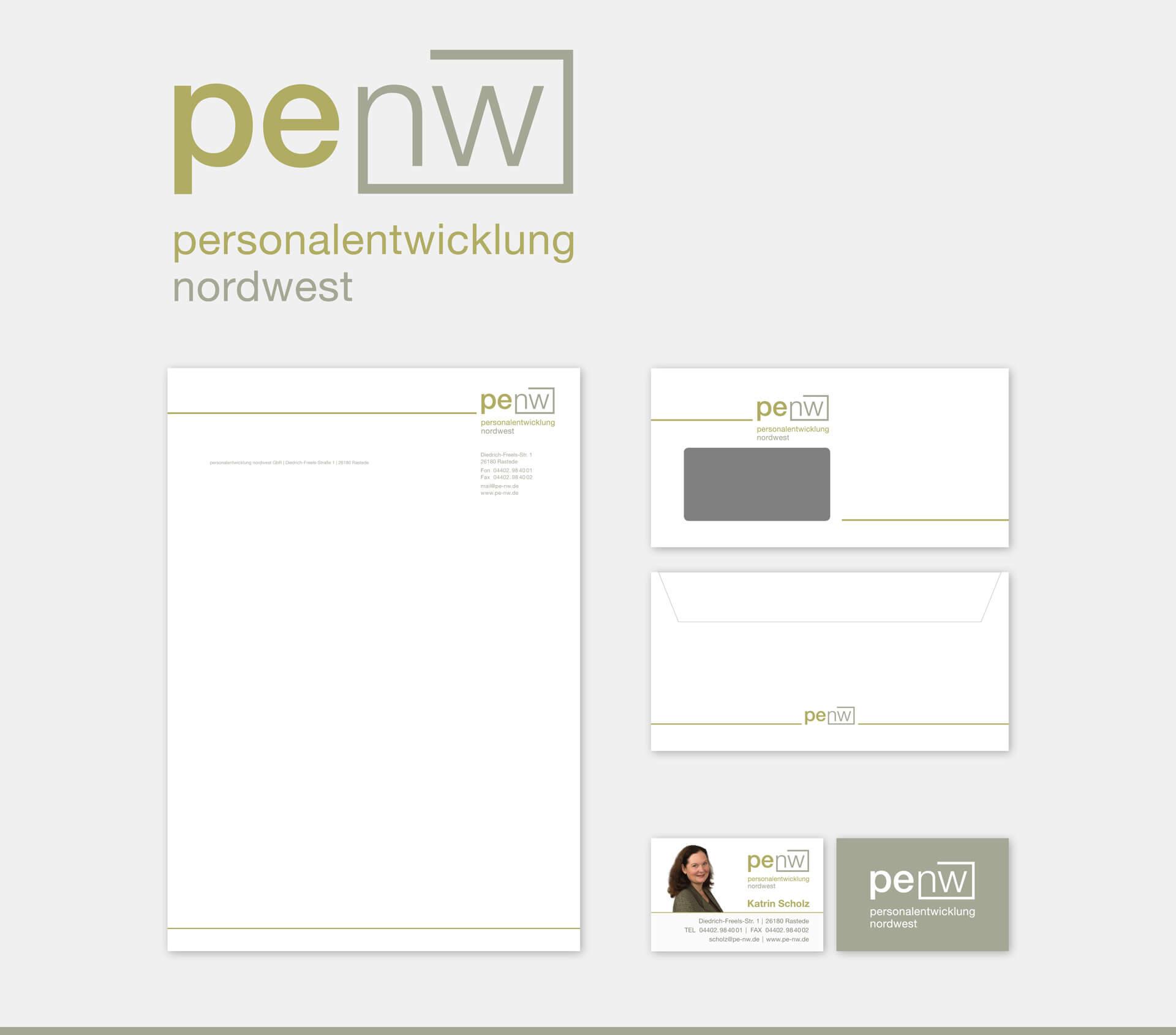 penw personalentwicklung nordwest Briefpapier Briefumschlag Visitenkarte