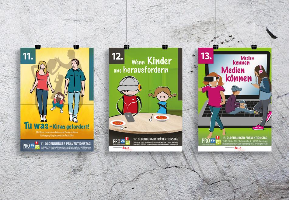 3 Plakate des PRO Präventionsrat Oldenburg