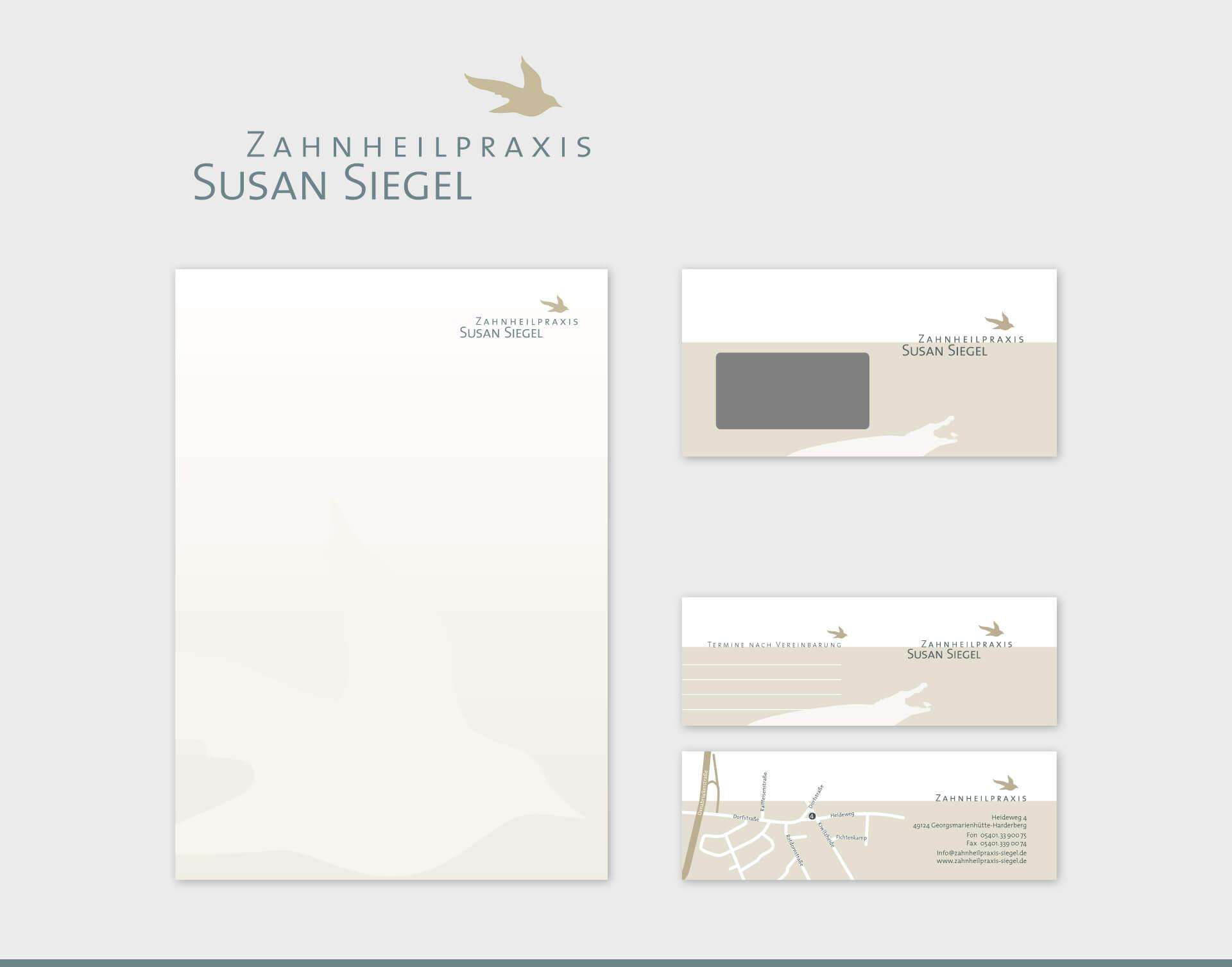 Zahnheilpraxis Susan Siegel Briefpapier Briefumschlag Visitenkarte