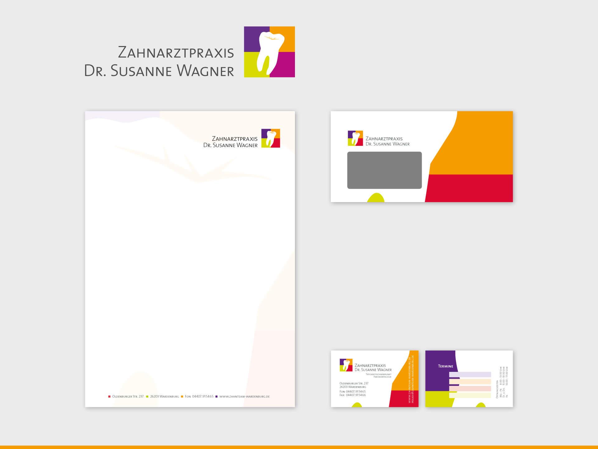 Zahnarztpraxis Dr. Susanne Wagner Briefpapier Briefumschlag Visitenkarte
